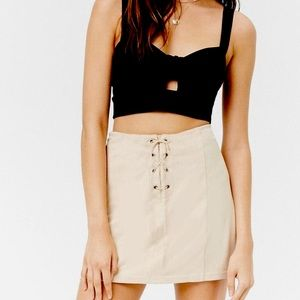 NWT Forever 21 tie up faux leather nude skirt